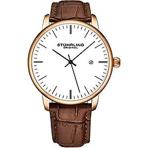 Stuhrling 3997Z – Reloj analógico para hombre con correa de piel de becerro – Vestido + diseño casual – Reloj analógico con fecha, colección para hombre