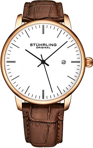 (Stuhrling Original Mens Watch Calfskin Leather Strap - Dress + Casual Design - Analog Watch Dial with Date, 3997Z Watches for Men Collection (Rose Gold White))