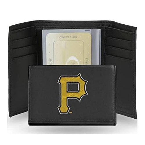 Rico Industries MLB Pittsburgh Pirates Embroidered Genuine Cowhide Leather Trifold Wallet