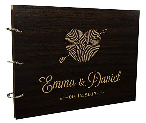 Engraved Bride & Groom Advice Photo Album Personalised Wooden Wedding Guest Book