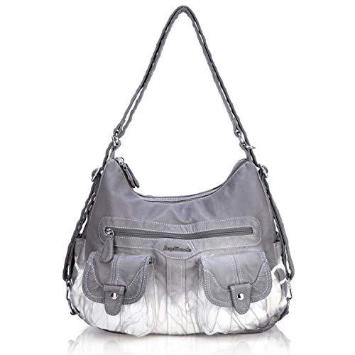 Angel Barcelo Women Multifunctional Soft Leather Handbag Purses Shoulder Hobo Backpack Crossbody Zipper Bag with Pocket Grey