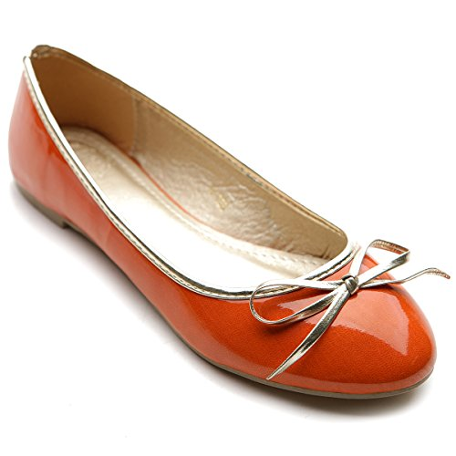 Womens Ribbon Accent - Ollio Womens Ballet Shoe Cute Enamel Ribbon Accent Multi Color Flat(6 B(M) US, Orange)
