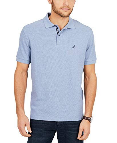 Nautica Men's Standard Classic Short Sleeve Solid Polo Shirt, Deep Anchor Heather, Large