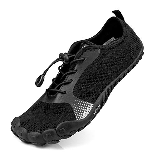 SouthBrothers Mens Hiking Shoes Quick Drying Fashion Sneakers Breathable Gym Athletics Sports Walking Shoes Mesh Outdoor Trail Running Shoes Black/Black - Shoes Mens Trail Running Black