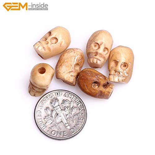 Calvas 9x13mm Natural Antique Carved Bone Skull Beads for Halloween Jewelry Making Decoration Sphere Bulk 17pcs DIY - (Color: Ivory-Yellow 9x13mm)
