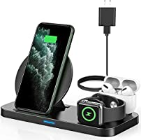 PLESON 3 in 1 Wireless Charging Station, Qi-Certified Wireless Charger for AirPods/Apple iWatch Series 6/5/4/3/2/1/SE...