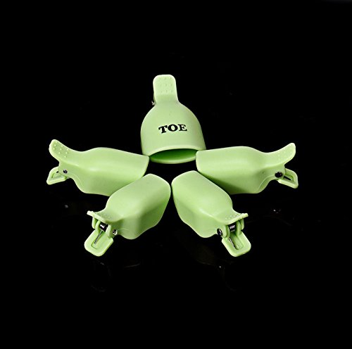 1 Set (5Pcs) Cool Popular Toenail Clip Caps Soak Off Tool Toe Care Kit Foot Cleaner Color Green