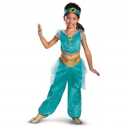 [Disguise Disney's Aladdin Jasmine Sparkle Deluxe Girls Costume, 7-8] (Halloween Jasmine Costume)