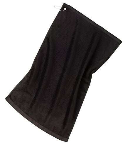 Port Authority bath Grommeted Golf Towel OSFA Black