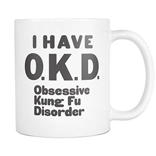 ArtsyMod Premium OKD OBSESSIVE KUNG FU DISORDER Coffee Mug, PERFECT FUN GIFT for the Kung Fu, Chinese Boxing Lover! Attractive Durable White Ceramic Mug (11oz., Black Print)
