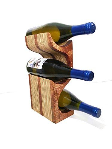Mahogany 3 Bottle Wood Wine Rack Display with Center Stripe
