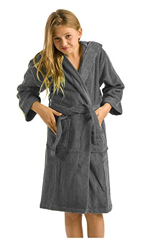 (Terry Hooded Kids Bamboo Bath Cover-Ups, Medium, Charcoal)