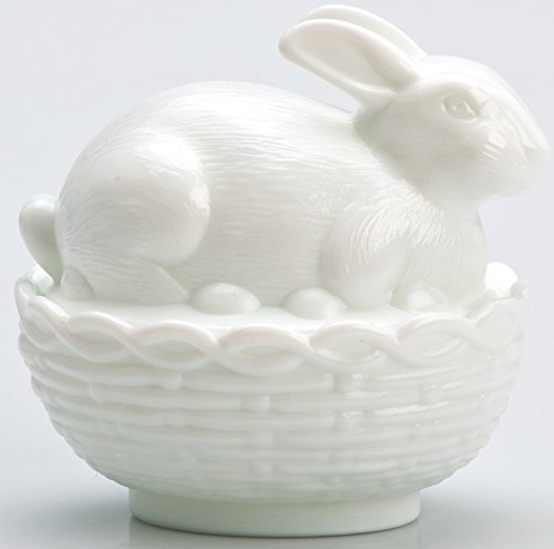 Glass Easter Bunny Rabbit on Covered Dish Mosser Glass (Milk Glass) - Glass Bunny