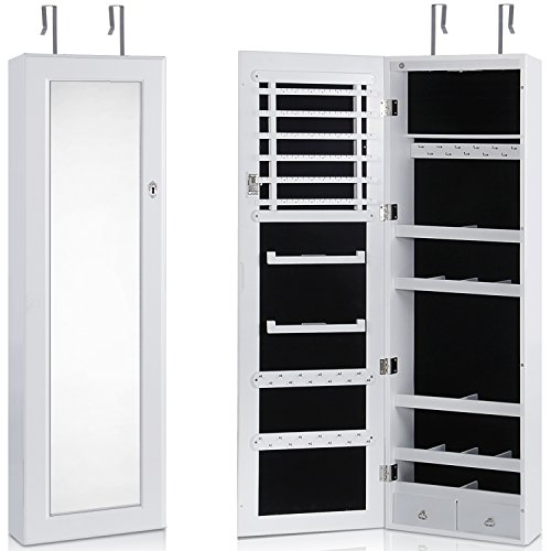 Lifewit Lockable Full Length Mirrored Jewelry Cabinet, Wall Door Mounted Bedroom Armoire with LED by Lifewit