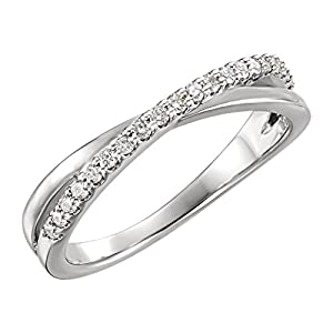 0.35 ct Ladies Round Cut Diamond Criss Cross Ring in 14 kt White Gold