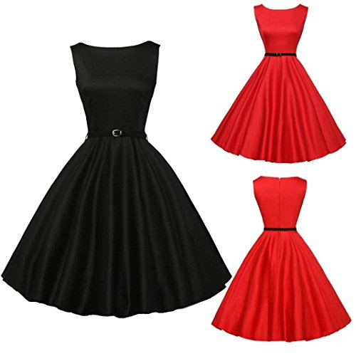 Women Summer DressTodaies Women Vintage Bodycon Sleeveless Dress Casual Retro Evening Party Prom Swing Dress 2018