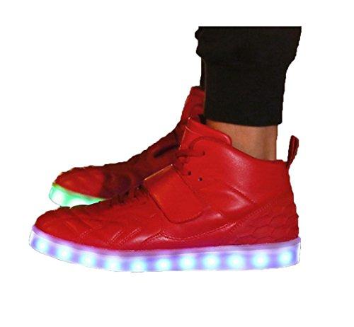 WZG Nuevos iluminación convencional de dos estudiantes zapatos zapatos de la danza del paso del fantasma luminoso zapatos de hombre zapatos de los hombres zapatos de destello ocasional Red