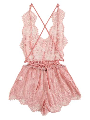 MAKEMECHIC Women's Teddy Lingerie Criss Cross Open Back Sheer Lace Night Romper Sleepwear Pink Medium