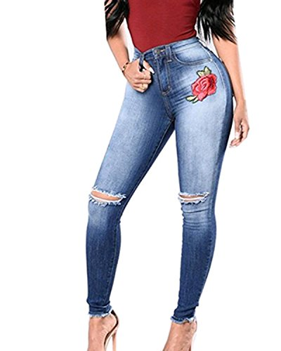 Women Denim Stretchy High Waist Rose Floral Embroidered Slim  Knee Hole