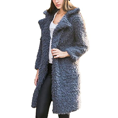Rcdxing Outwear Warm Fleece Solid Long Sleeve Turn-Down Collar Mid-Long Teddy Sherpa Coat Warm Clothing Gray