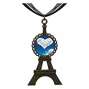 Chicforest Bronze Retro Style White Clouds Heart In The Blue Sky Eiffel Pendant