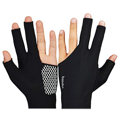 (Glumes Billiard Glove Elastic Lycra 3 Fingers Show Gloves with Billiard Shooters Carom Pool Snooker Cue Sport - Professional Spandex Wear on The Left Hand for Men & Women)