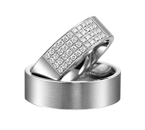14k white gold couples wedding rings 066 ct 6 mm - Couples Wedding Rings