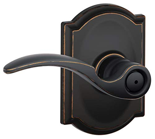 Schlage F40 STA 716 CAM Camelot Collection St. Annes Privacy Lever, Aged Bronze