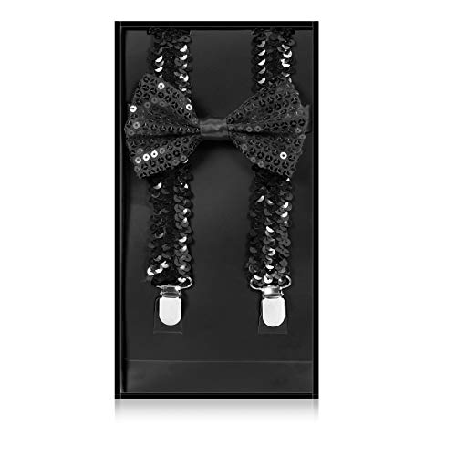 Buha Suspenders for Men, 2 in 1 Suspenders and Bow Tie, Mens Outfits Casual Suspender and Bow Tie Special Edition (Sequins-Black) -