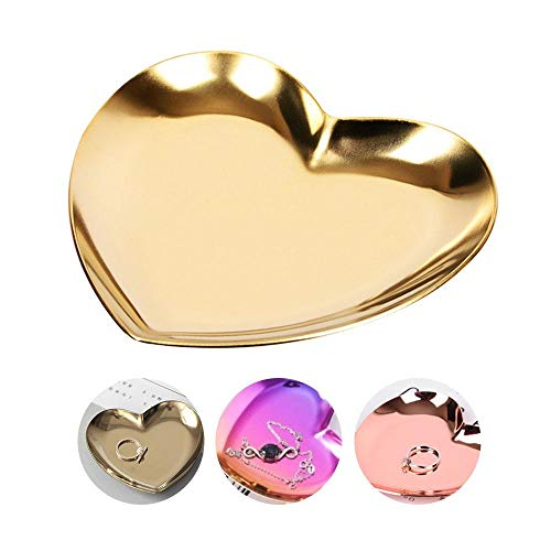(KOBWA Colorful Luxurious Metal Storage Tray Heart Shaped Jewelry Display Tray Home Decoration Serving Plate Craft for Table Organizer Dish Christmas Wedding Birthday Xmas Gift)