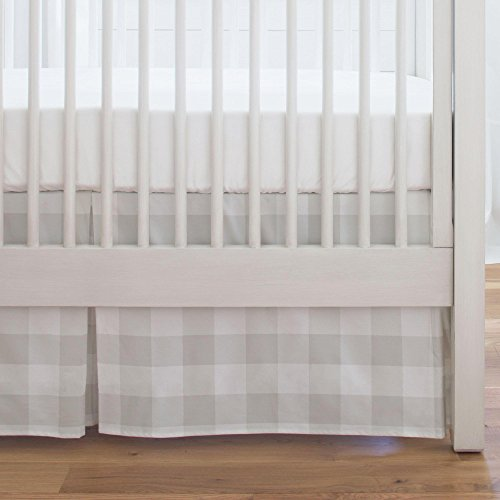 Crib French (Carousel Designs French Gray and White Buffalo Check Crib Skirt Single-Pleat 17-Inch Length - Organic 100% Cotton Crib Skirt - Made in the USA)