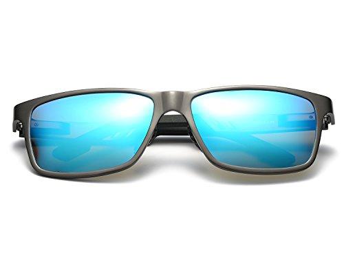 polarizadas Al Super Moda Hombre gafas de Metal Azul sol Ligero Gris REDPEONY Marco Mg ZpqwXY6q