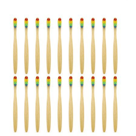 Genkent Natural Bamboo Toothbrush Made with Rainbow Nylon Infused Bristles (20 Counts)