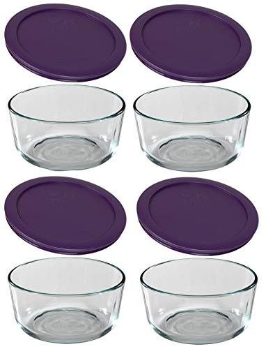 (Pyrex Simply Store Glass Food Storage Set Purple, (pack of 4))