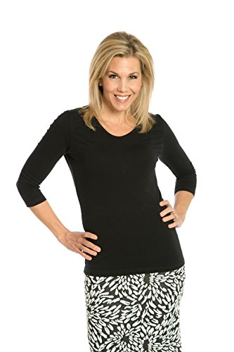 Heirloom 3/4 Sleeve V-Neck Top, Soft Yet Durable, Extra-Length Layering Top (Black, M)
