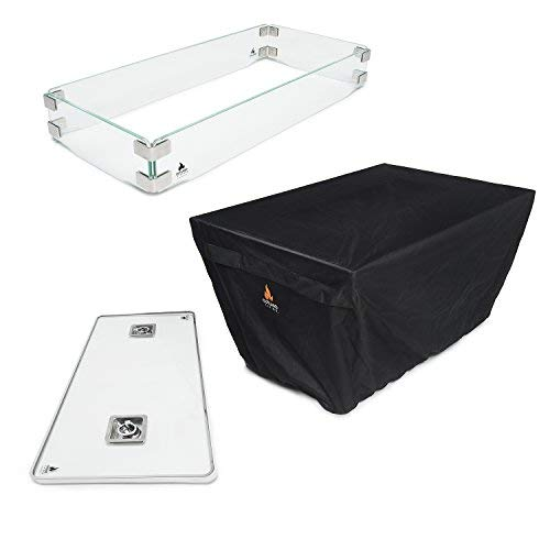 Outland Fire Table 3 Piece Rectangle Accessory Set - Tempered Glass Lid Insert, Tempered Glass Wind Guard Fence and UV & Water Resistant Durable Cover for Series 401 Outdoor Propane Fire Pit Tables by Outland Living