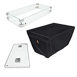 Outland Fire Table 3 Piece Rectangle Accessory Set - Tempered Glass Lid Insert, Tempered Glass Wind Guard Fence and UV & Water Resistant Durable Cover for Series 401 Outdoor Propane Fire Pit Tables 3