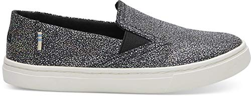 TOMS Kids Girl's Luca (Little Kid/Big Kid) Black Iridescent Droplets 3 M US Little - Slip Kids On Black