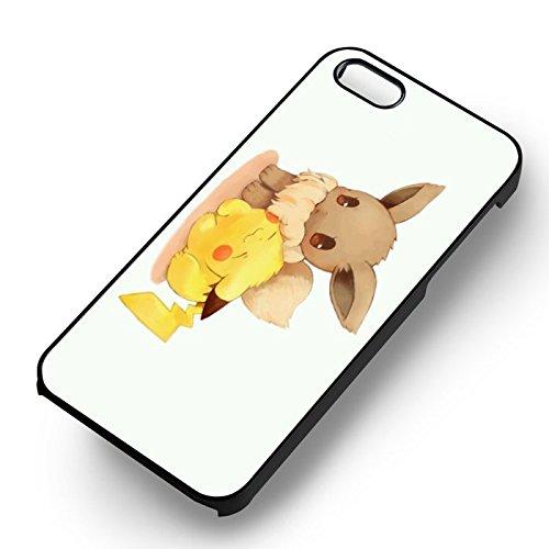 Unique Pokemon Pikachu et Eevee pour Coque Iphone 5 or Coque Iphone 5S or Coque Iphone 5SE Case (Noir Boîtier en plastique dur) Z5X0ON