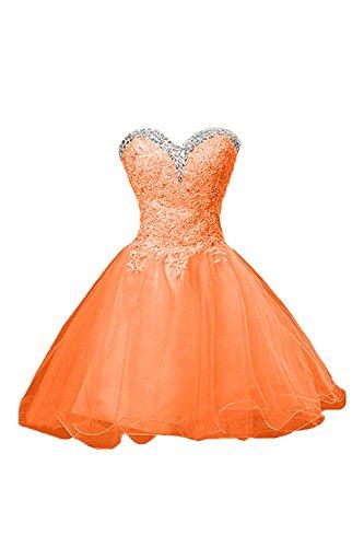 Cocktailkleider Abendkleider Orange Elfenbein Mini Tanzenkleider Spitze Promkleider Damen mia Braut La xXqvRSYY