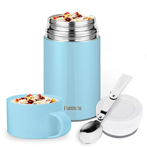 Puninoto Insulated Lunch Container,Hot Food Jar,20 oz with Folding Stainless Steel Spoon for School Office Picnic Travel Outdoors Blue