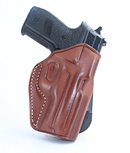 Premium Leather OWB Paddle Holster With Open Top Fits, Sig P.226 227 220 224 225 228 229 230 232 320 239 250 238 290 2340 2022 1911, Brown Color (SIG P.225 /P.228/P.229 W/RAIL, RIGHT HAND DRAW) #1075#