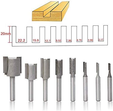 8 Stück 1/4 Shank Profilfräser Werkzeug-Satz Straight Flush Trim Pattern Template Fräser Holz Top Bearing Fräswerkzeug