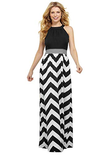 Womens Tank Top Long Maxi Dresses Summer Boho Empire Chevron Tank Top Casual Beach Dresses (G-Black, X-Large(US 16-18))