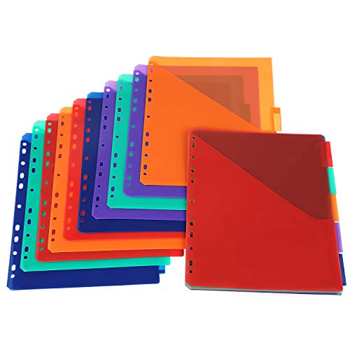 Insertable Plastic Dividers,Binders Dividers with Two Pockets & tabs,5-Tab Set, Multi-Color,Pack of 3 ()