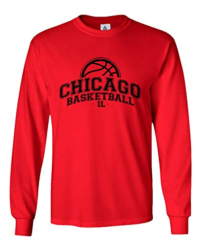 Sheki Apparel Basketball Fans Chicago Town Pride Mens Long Sleeve T-Shirt (Red,S)