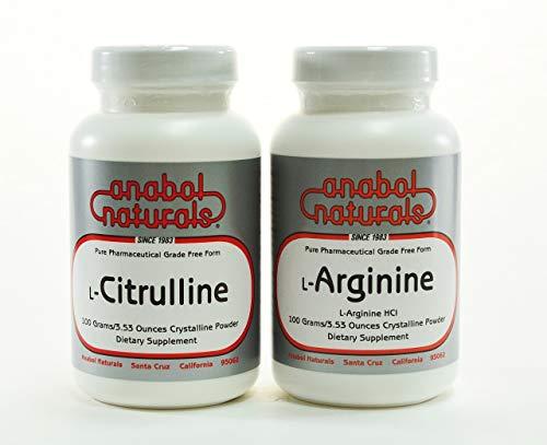 Anabol Naturals Nitric Oxide (N.O.) Stack: L-Arginine 100 gm Powder and L-Citrulline 100 gm Powder