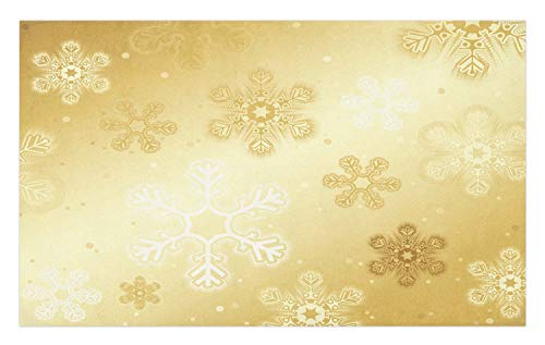 Ambesonne Christmas Doormat, Snowflakes Pattern Noel Holiday Yuletide Themed Winter Inspired Artsy Image, Decorative Polyester Floor Mat with Non-Skid Backing, 30 W X 18 L Inches, Sand Brown ()