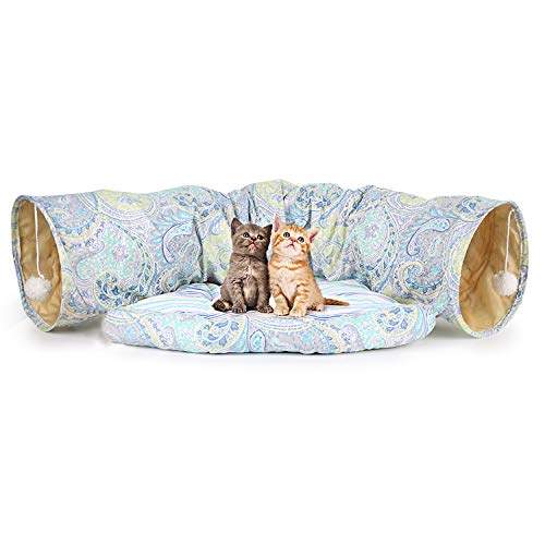 BeMAX Cat Play Tunnel, 2 in 1 Cat Tube Toy with Scratching Ball, Collapsible Tunnel Bed for Cat and Puppy, The Perfect Cat Mate for Pet Lovers and Owners ()