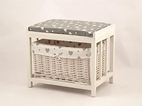 Baúl de madera blanco con cesta de mimbre, cojín gris a ...